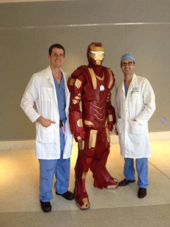 Iron Man poses with doctors at Childrens Healthcare of Atlanta.