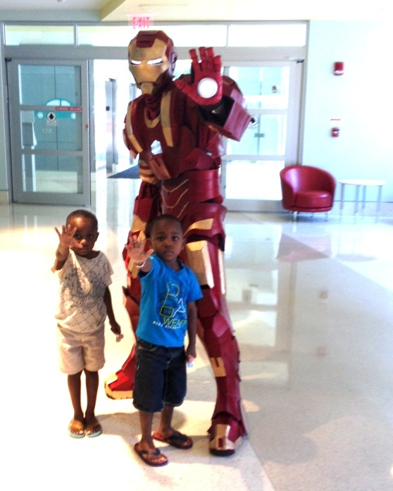 Iron Man and his two heroes in training